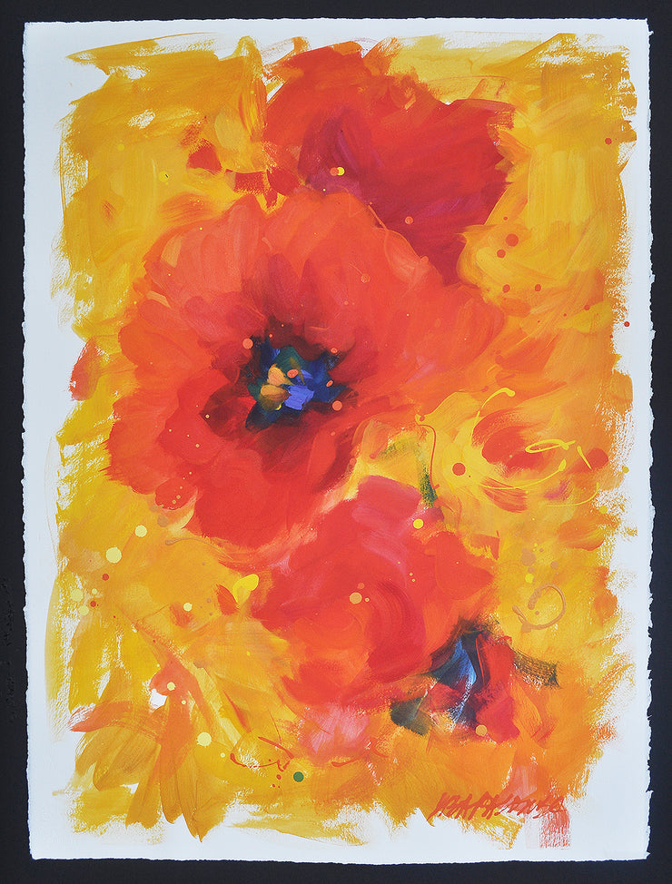 original on paper red poppies with gold background Serendipity #1