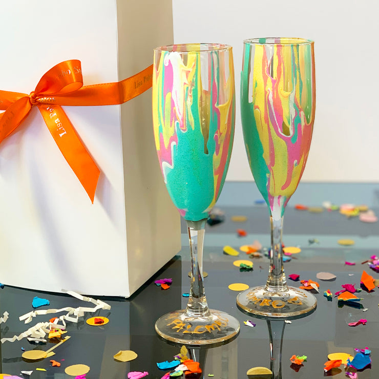 Yellow Pink and Turquoise Champagne Glass