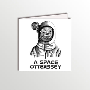 funny birthday card with an astronaut otter pun