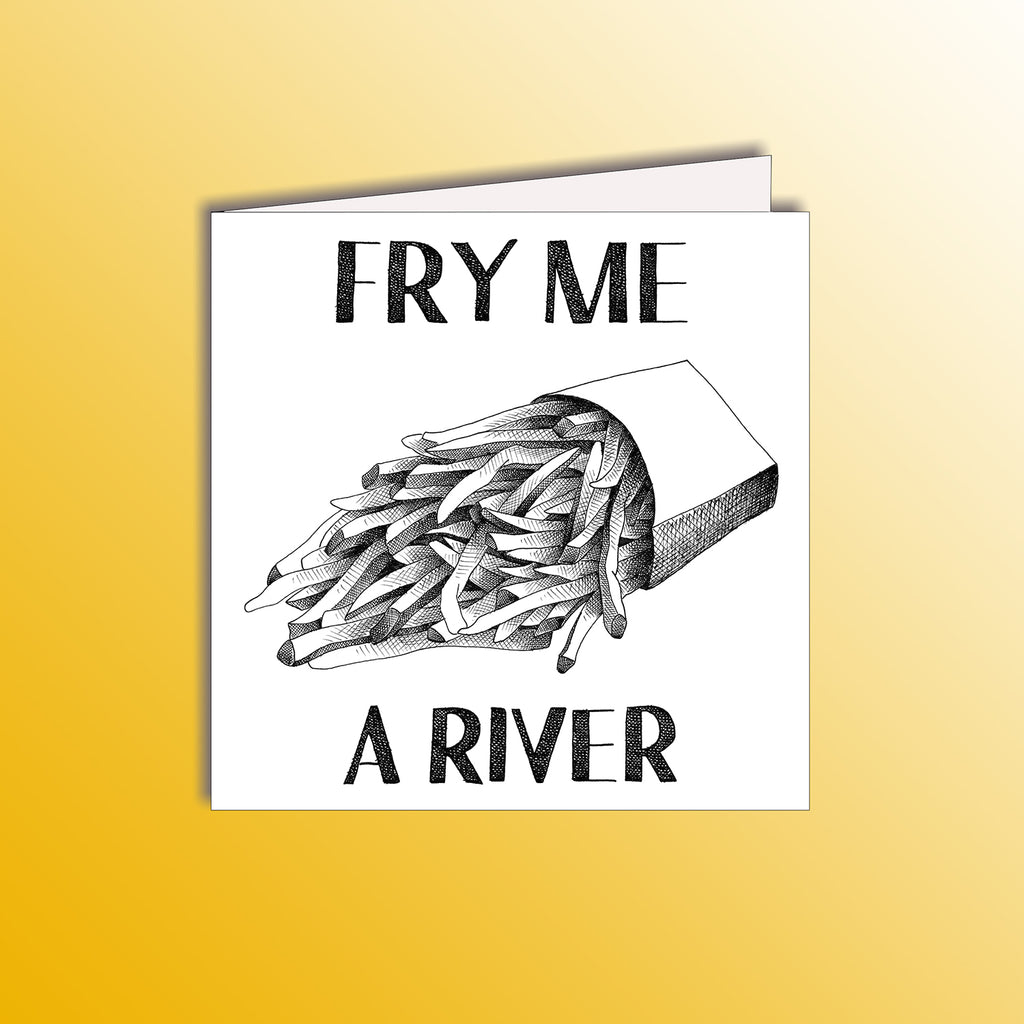 funny valentines card with French fries