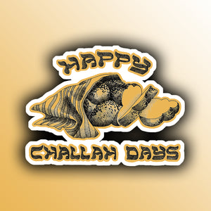 funny hanukkah holiday sticker with a loaf of challah bread pun