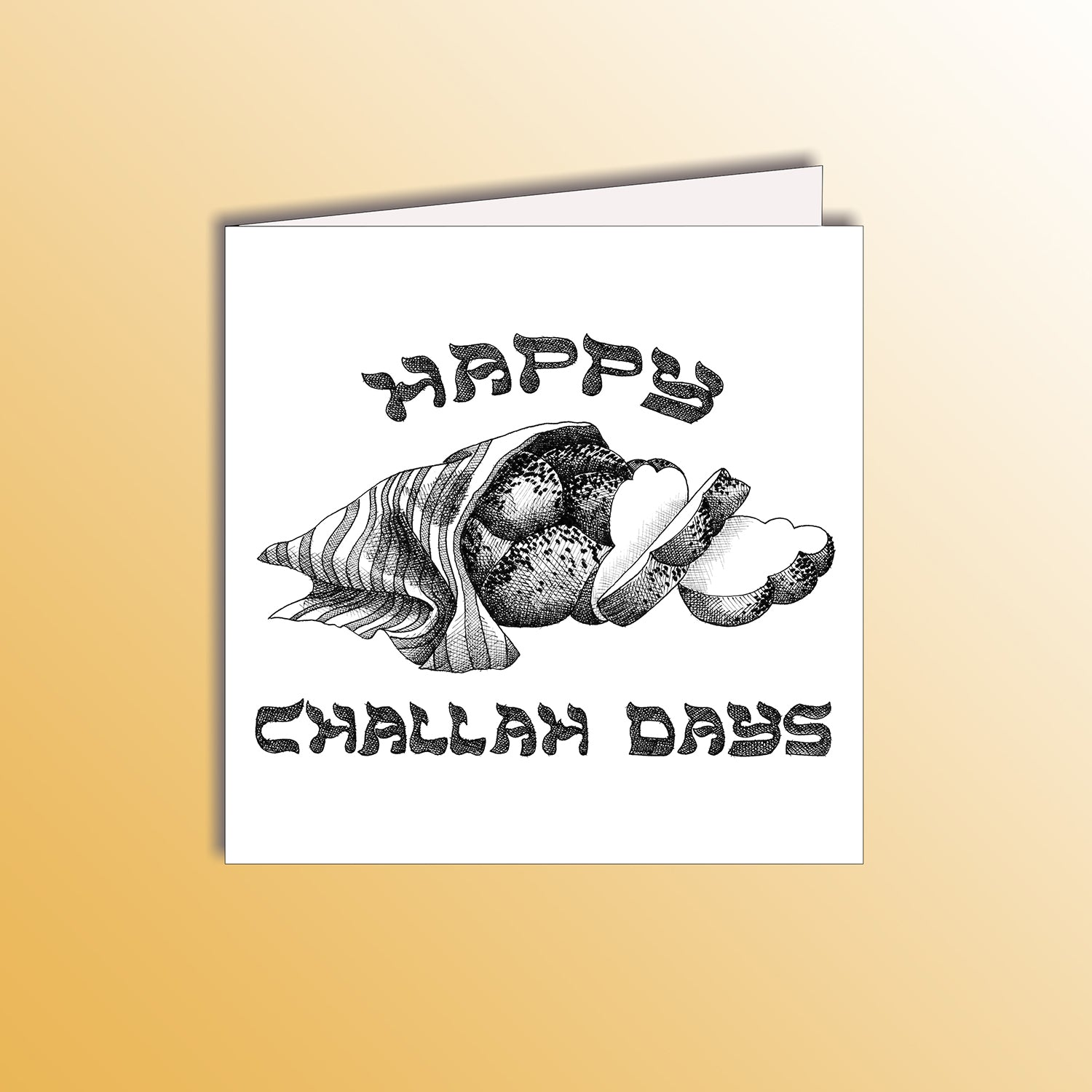 funny hanukkah holiday card with a loaf of challah bread pun