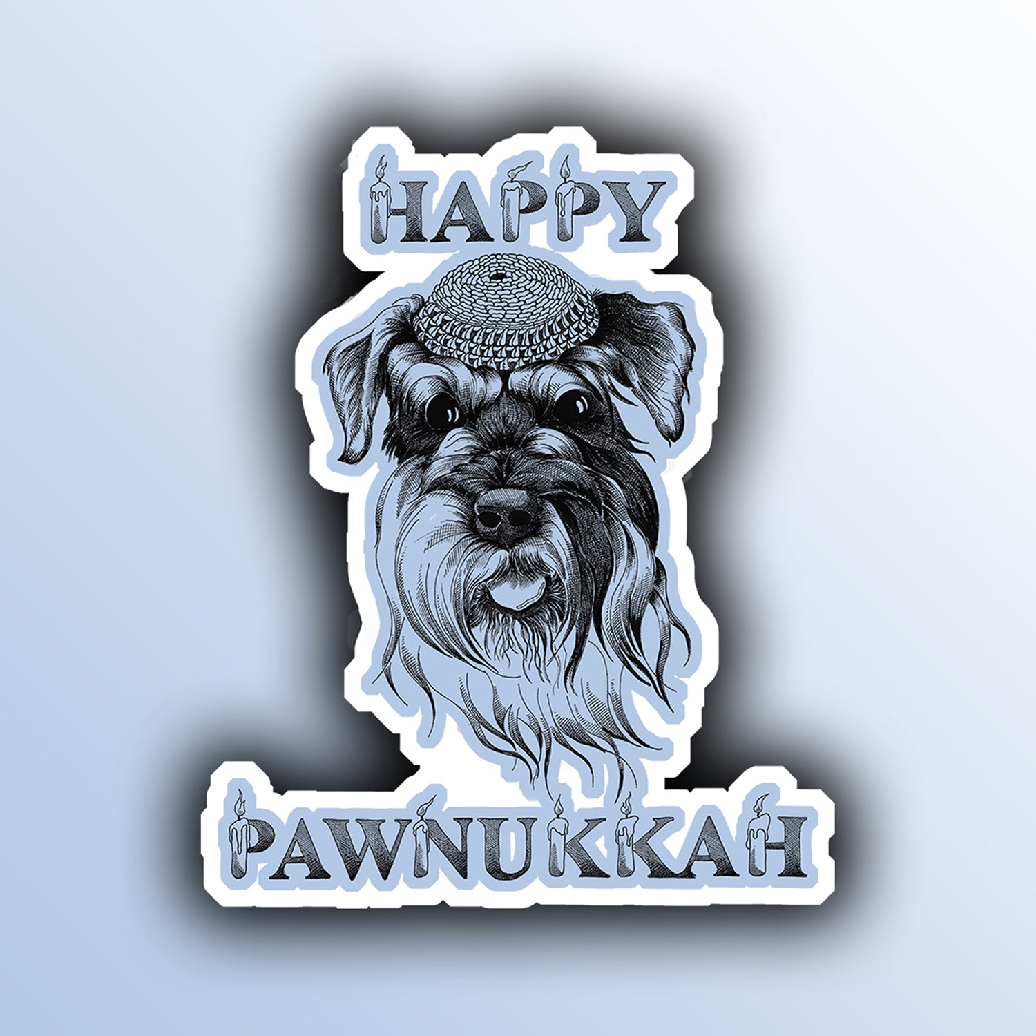 funny hanukkah holiday sticker with a dog animal pun