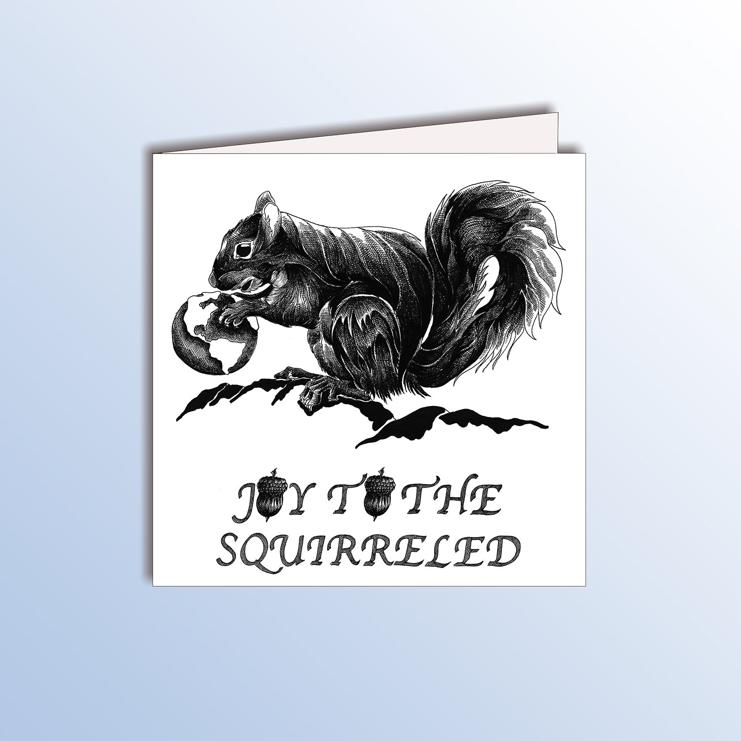 funny birthday card with a squirrel holding the earth animal pun
