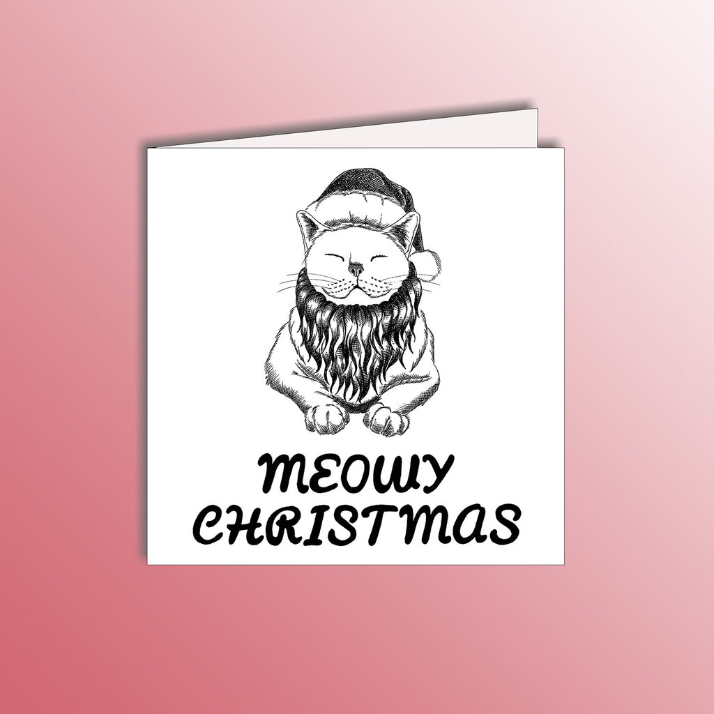 funny christmas holiday card with a santa cat animal pun
