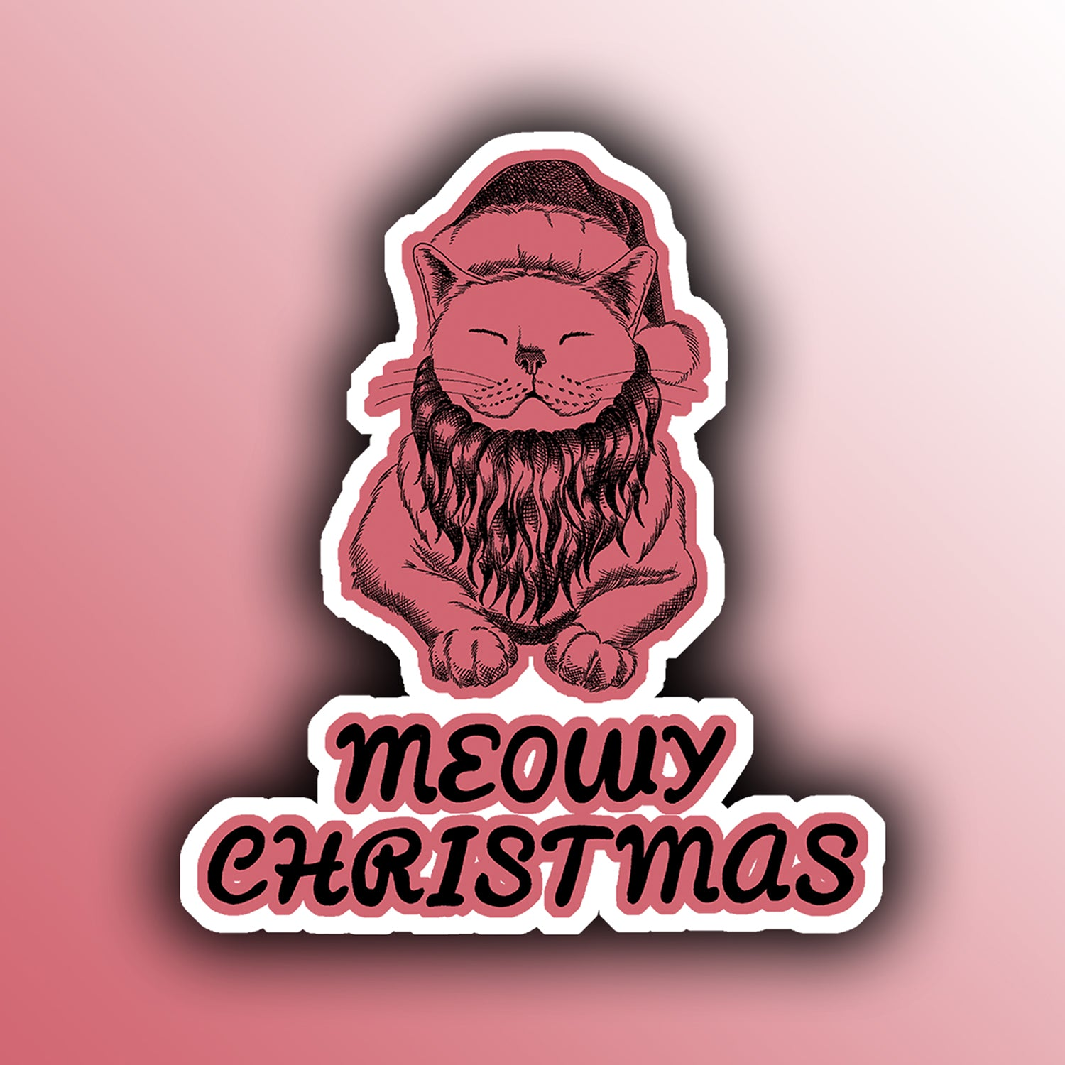 funny christmas holiday sticker with a santa cat animal pun