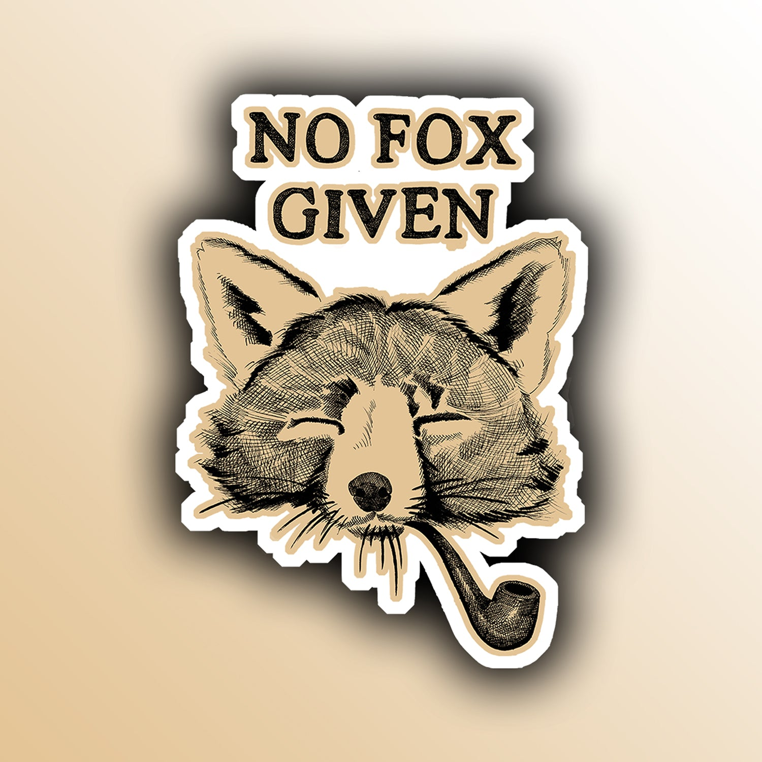 funny sticker with a fox smoking a pipe animal pun