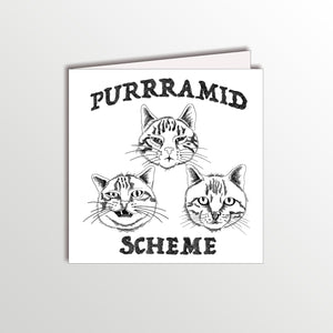 funny birthday card with three cats pun