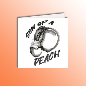 funny birthday card with small son peach and big dad peach pun