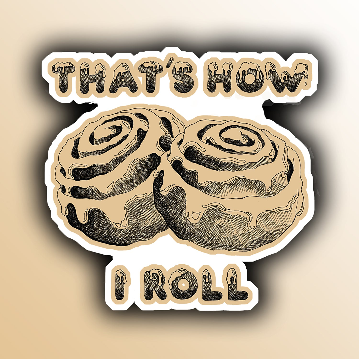 funny sticker with frosted cinnamon rolls food pun