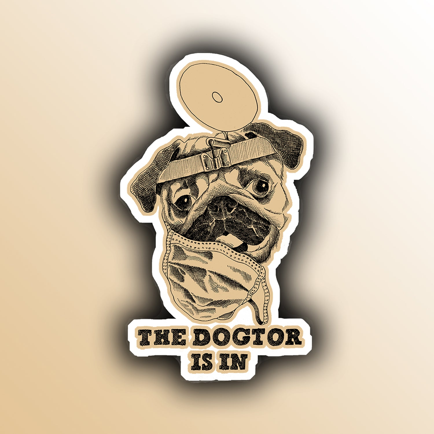 funny sticker with a doctor pug dog pun