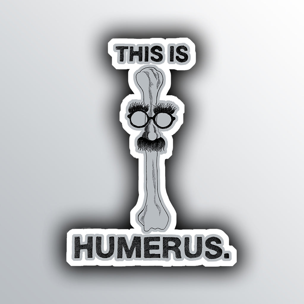 funny sticker with a humorous skeleton bone pun