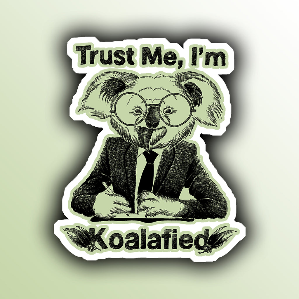 funny sticker with a koala businessman animal pun