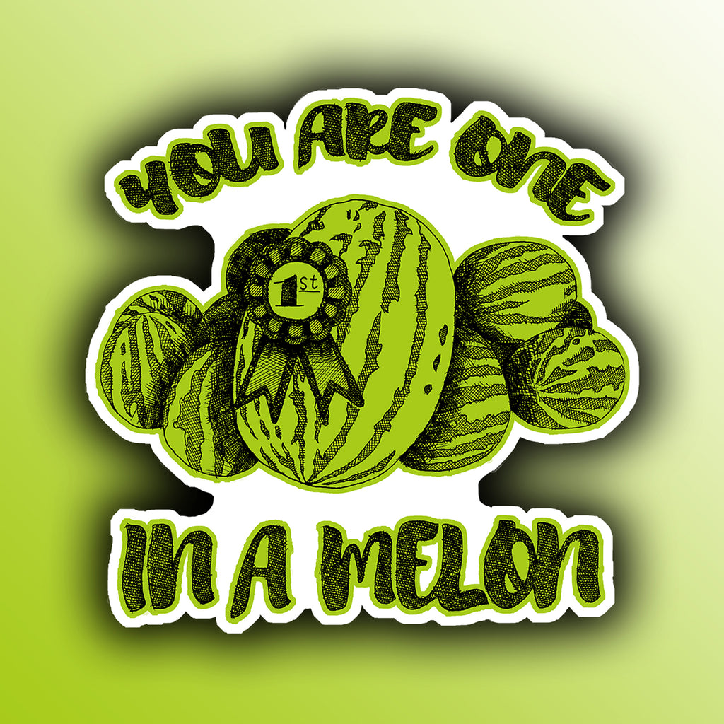 funny sticker with a pile of watermelon fruit pun