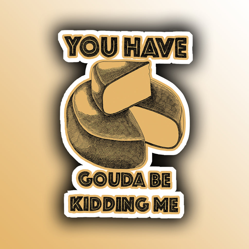 funny sticker with cheese food pun