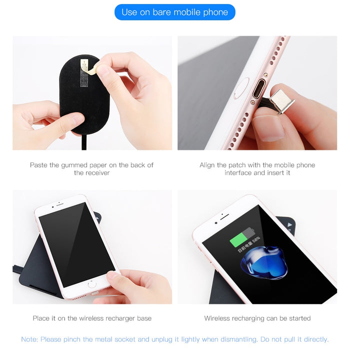 QI Wireless Charger Receiver For iPhone 7 6 5 Samsung a5 7 Wireless Charging Receiver For Xiaomi 5 6 Redmi 4x Oneplus LG