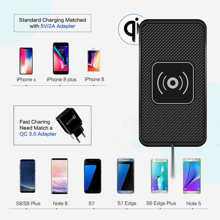 Car Charger Qi Wireless Charger For Car Wireless Charging Pad for Samsung 10W Fast Qi Phone Charger for iPhone X
