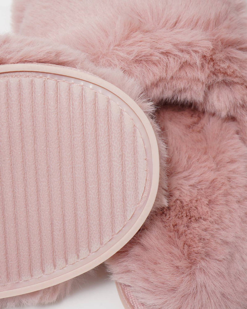 Pink Faux Fur Slippers