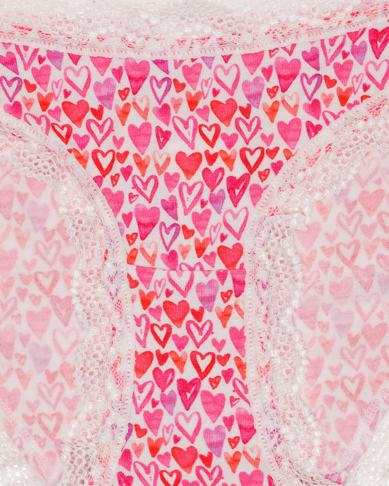 Watercolour Multi Hearts Print Knicker