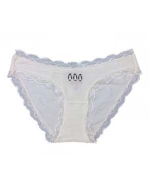 Limited Edition Bright White Penguins Embroidery Knicker