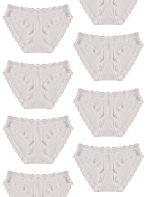 All White 8 Knicker Pack