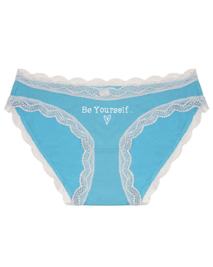 Be Yourself Embroidered Turquoise Knicker
