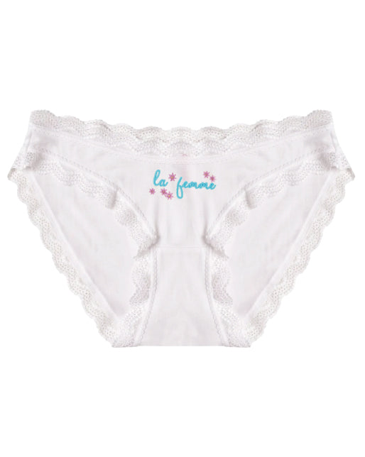 La Femme Embroidered White Knicker