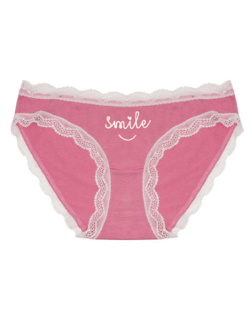 Smile Bright Embroidered Pink Knicker