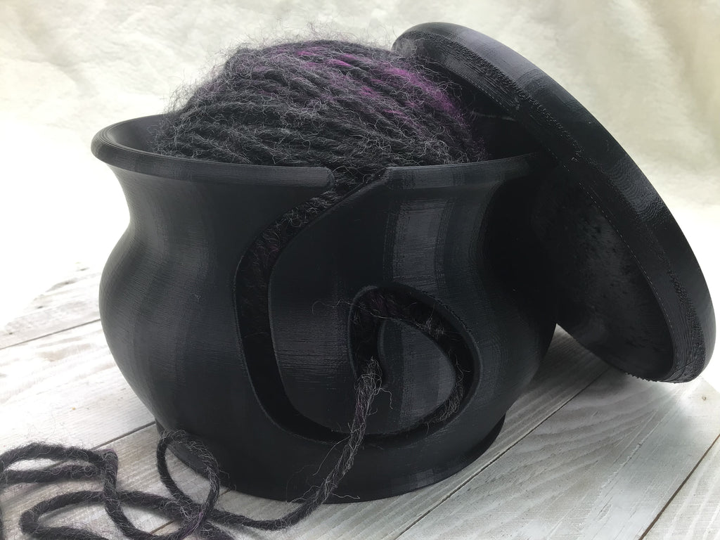Yarn Bowl with Lid - Jet Black - Steep Hill Farm