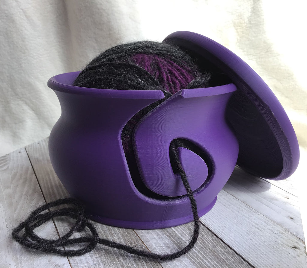 Yarn Bowl with Lid - Purple - Steep Hill Farm