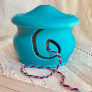 Yarn Bowl with Lid - Turquoise - Steep Hill Farm