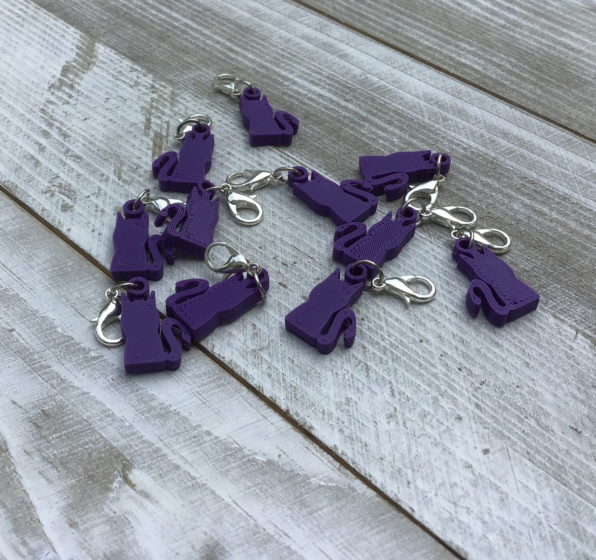 Crochet Stitch Markers-Purple Cats - Steep Hill Farm