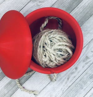 Yarn Bowl with Lid - Christmas Red