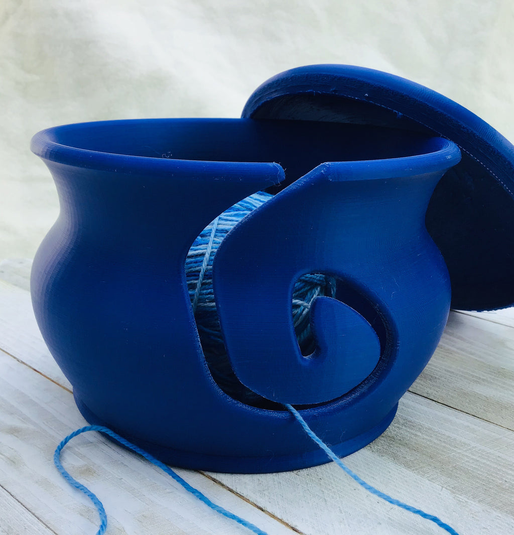 Yarn Bowl with Lid - Blueberry - Steep Hill Farm