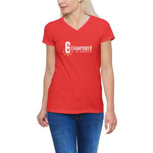 2a221370 Liverpool FC V-neck T Shirt for Her - Champions of Europe