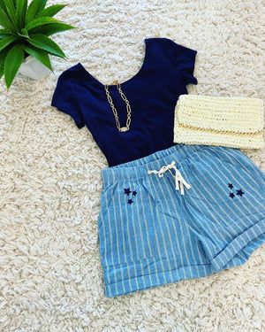 Striped Star Shorts