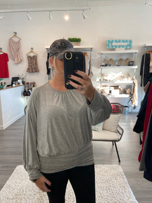 Grey Cinched Shirring Top