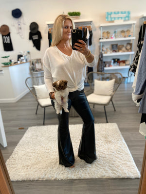 Faux Leather Bell Bottoms