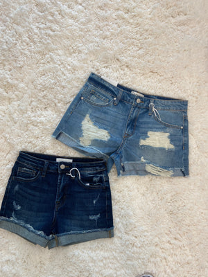 Dark Cuffed Distressed Shorts