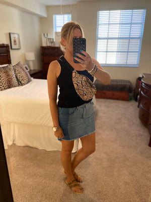 Two-Tone Denim Skirt