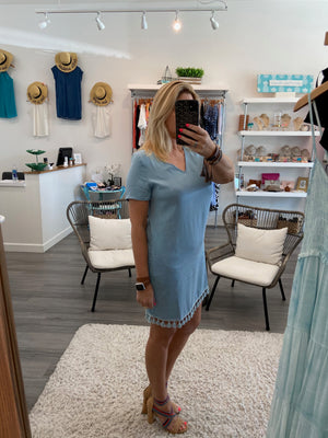 Chambray Tassel Shift Dress