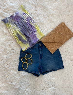 Smocked Tie Dye Crop Top