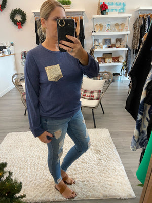 Long Sleeve Sparkle Pocket Top