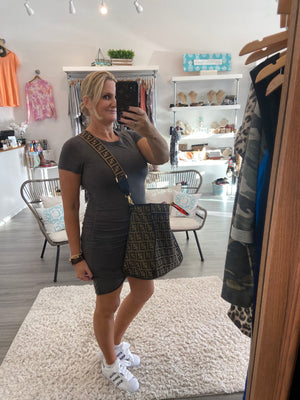 Charcoal Grey Side Cinched T-Shirt Dress