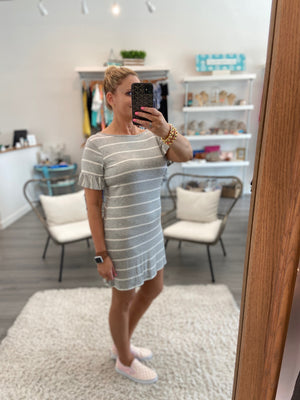 Striped Ruffle T-Shirt Dress