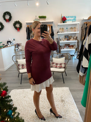 Merlot Ruffle Dress