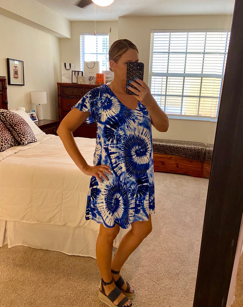 Tie Dye Short Sleeve Dress