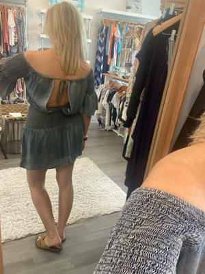 Off the Shoulder Chambray Dress