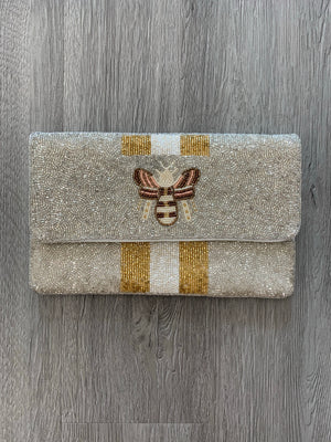 Bee Beaded Clutch
