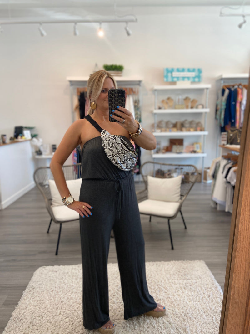 Strapless Charcoal Jumpsuit